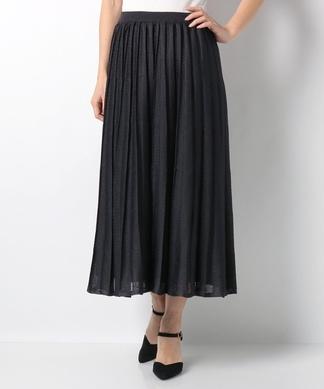 ラメニットロングプリーツスカート