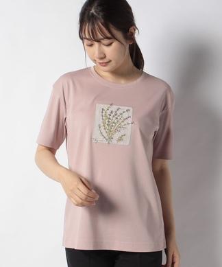 ボタニカル刺繍ポイントTシャツ