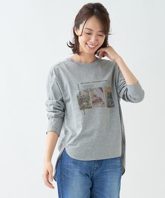 【Leilian WHITE LABEL】フォトプリントTシャツ