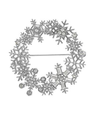 雪の結晶 リース ブローチ