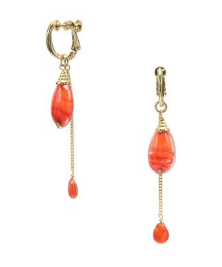 オレンジカラー ベネチアンガラス イヤリング