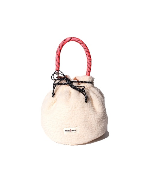 MT FAKE MOUTON DRAWSTRING BAG Beige【35701610】