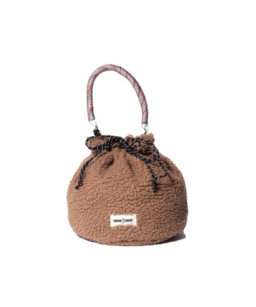 MT FAKE MOUTON DRAWSTRING BAG Brown【35701611】