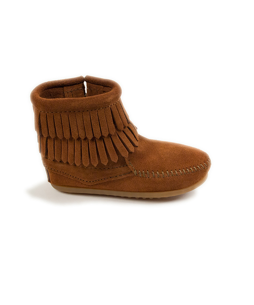 DOUBLE FRINGE SIDE ZIP BOOT Brown【37115010】