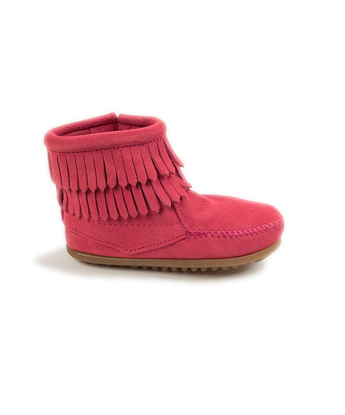 DOUBLE FRINGE SIDE ZIP BOOT HotPink【37115012】