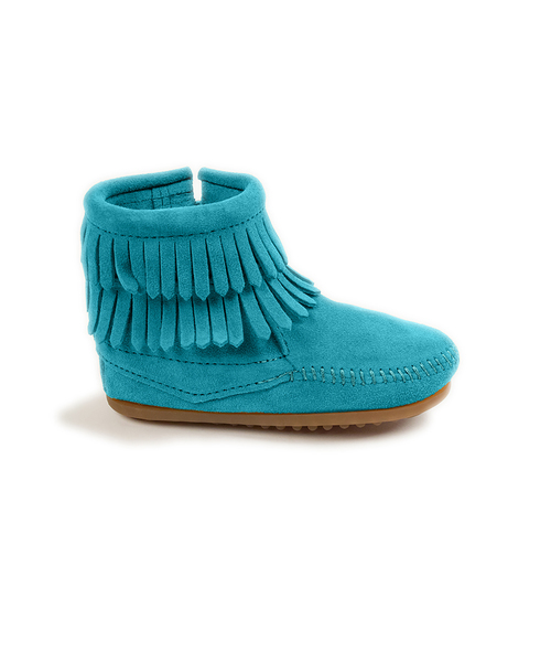 DOUBLE FRINGE SIDE ZIP BOOT Turquoise【37115013】