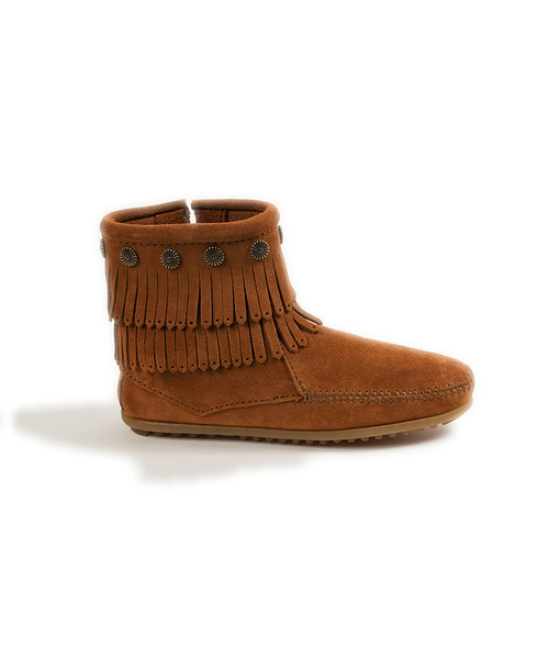 DOUBLE FRINGE SIDE ZIP BOOT Brown 【37111023】