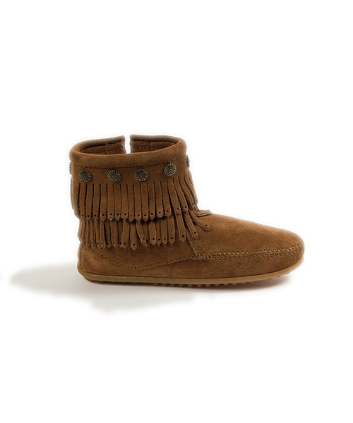 DOUBLE FRINGE SIDE ZIP BOOT Dusty Brown【37111024】