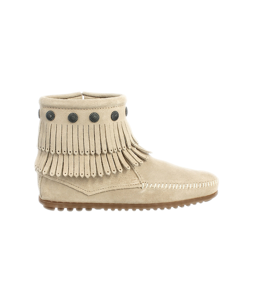 DOUBLE FRINGE SIDE ZIP BOOT Stone【37111025】