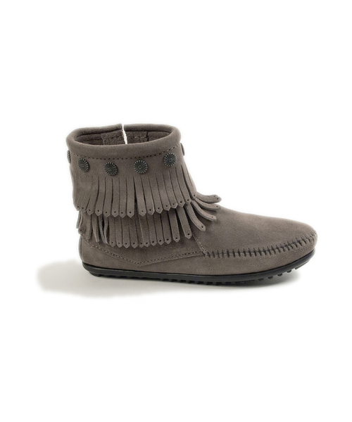 DOUBLE FRINGE SIDE ZIP BOOT Grey【37111022】