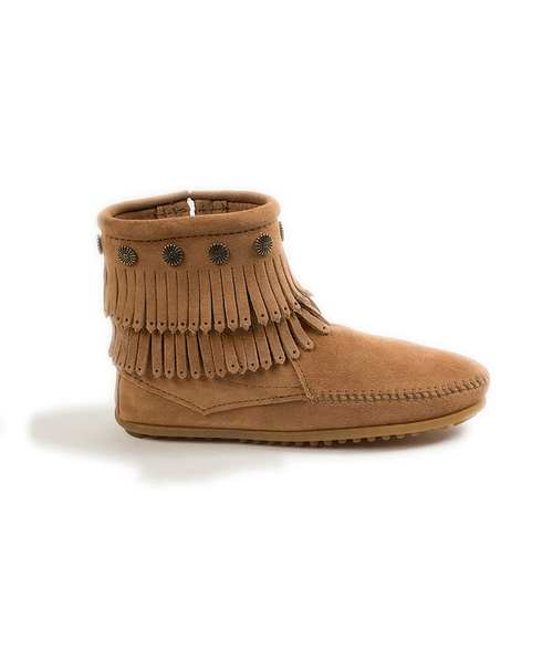 DOUBLE FRINGE SIDE ZIP BOOT Taupe【37111026】