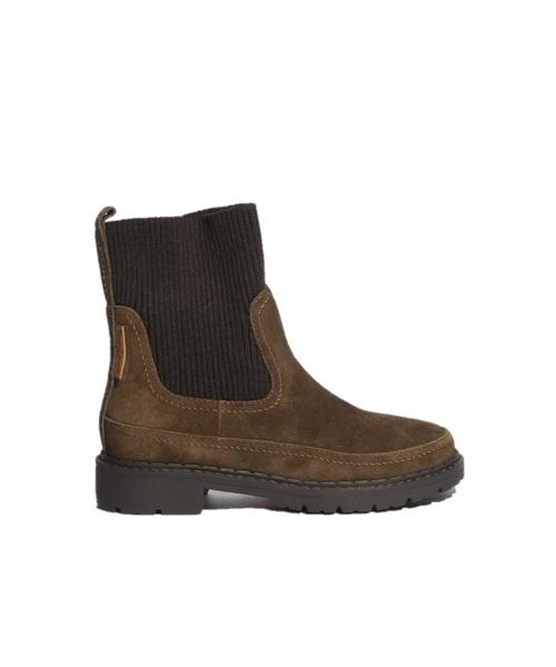 RIB KNIT X TANK SOLE BOOTS Olive【35701561】