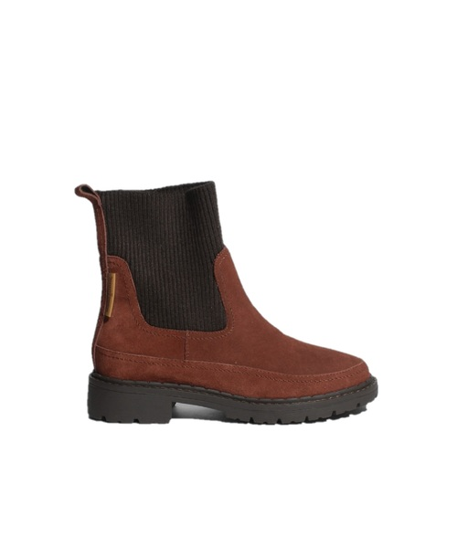 RIB KNIT X TANK SOLE BOOTS Brick【35701562】