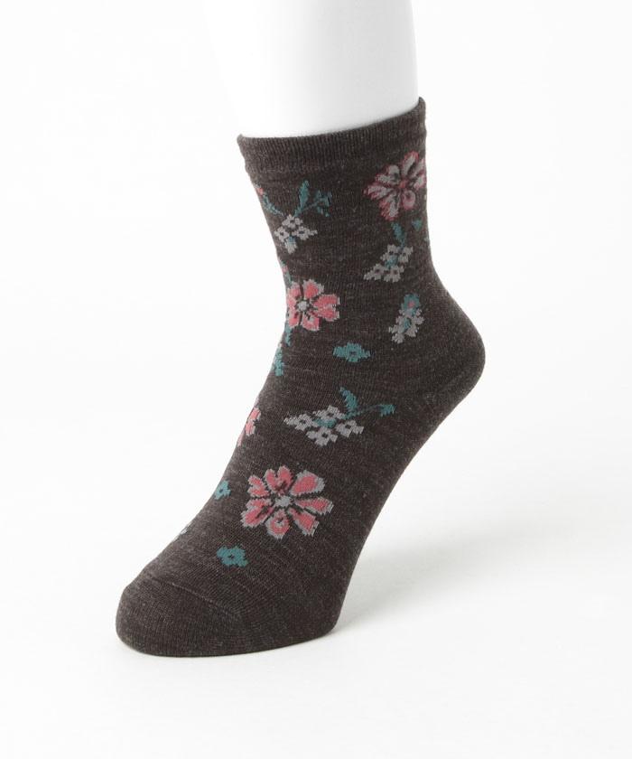 【在庫限り】レディス 二重編ソックス 花柄