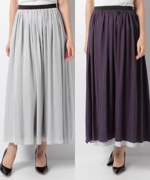 PEサテンリバーシブルロングスカート