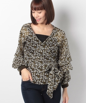 【GHOSPELL】Floral Knit Rib Top