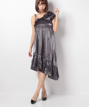【GHOSPELL】Gunmetal Off Shoulder Dress