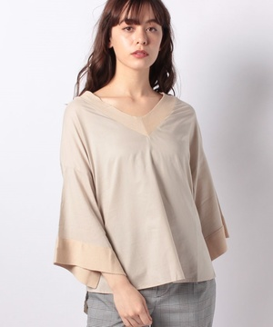 【basque】ニットリブ布帛P/Oシャツ