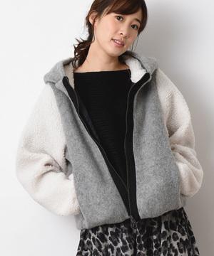 【basque】配色フード付シャギーボアショートコート