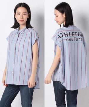【basque】BACKロゴストライプシャツ
