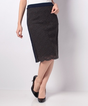 サイドライン配色レースタイトスカート