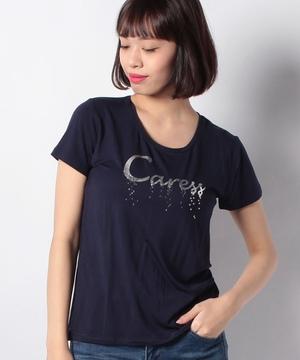 箔プリントスパンコール刺繍Tシャツ