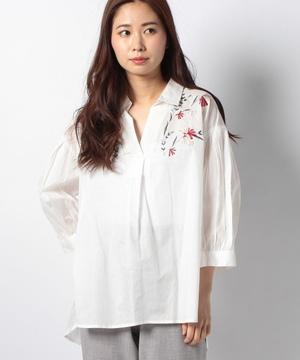 綿ローン刺繍スキッパーシャツ
