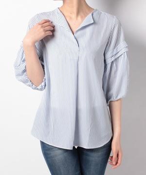 デシンストライププリント袖デザインブラウス