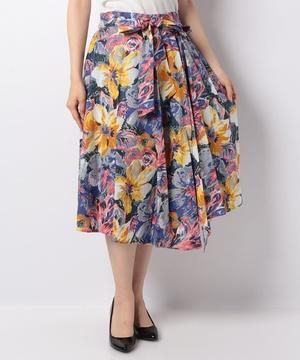 綿カラフルフラワープリントスカート