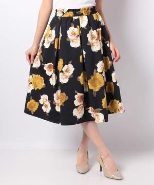 【MD】グログラン花柄フレアスカート
