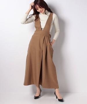 杢調サージストレッチジャンパースカート