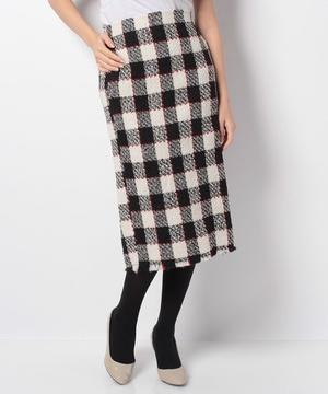 ブロックチェックツイードタイトスカート