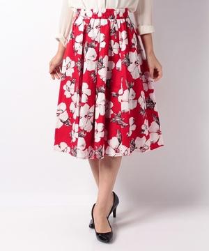 【BeautyBy INTERPLANET】綿ブロード水彩単色フラワープリントスカート