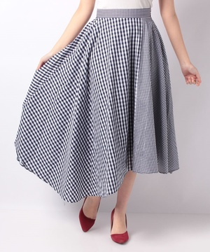 ギンガムチェックブロックスカート