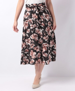 デシンフラワープリントスカート