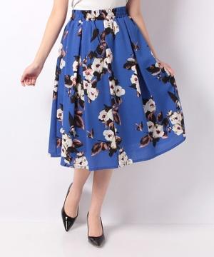 【BeautyBy INTERPLANET】麻調合繊椿水彩花プリントスカート
