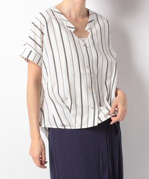 バー釦半袖シャツ