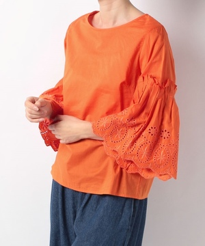 60ローンカラーレス刺繍ブラウス