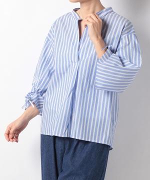 綿ブロードチェック*ストライプ袖シャーリングシャツ