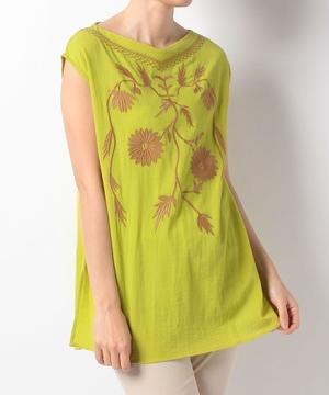 カラー刺繍楊柳チュニックプルオーバー