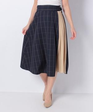 【O】TRウインドペンチェック異素材切替スカート