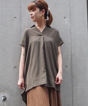 麻調スラブ合繊BACKデザインシャツ