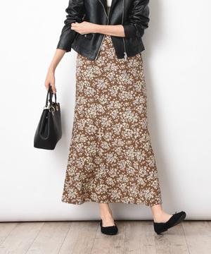 小花柄ソフトマーメイドスカート