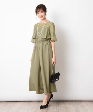 デコルテレースフリルセミロングドレス