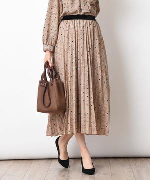 【セットアップ対応商品】フロッキードット*チェックプリントプリーツスカート
