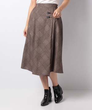 グレンチェックフロッキープリントビット付スカート