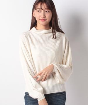 カシミヤタッチリブ編みボトルネックボリューム袖プルオーバー