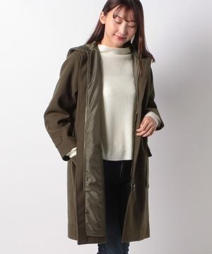 ニットメルトン裾配色ダッフルコート