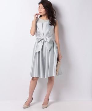 シャンタンオーガンジーウエストリボンドレス