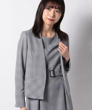 【セットアップ対応商品】グレンチェックカラーレスジャケット